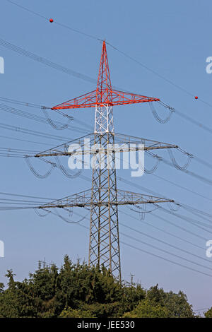 Germania, Assia, home Hatters, alta tensione poli, circuiti, le linee di alimentazione di potenza, corrente elettrica, Foto Stock