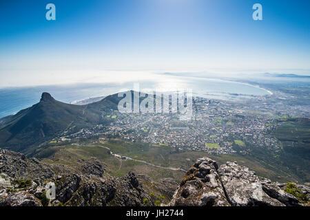 Vista sulla Città del Capo da Table Mountain, Sud Africa e Africa Foto Stock
