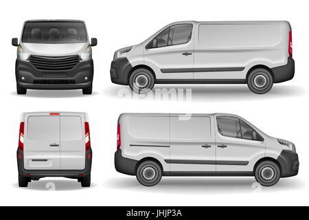 Veicolo da carico anteriore, laterale e vista posteriore. Consegna di argento mini van isolato. Consegna Van Mockup Foto Stock
