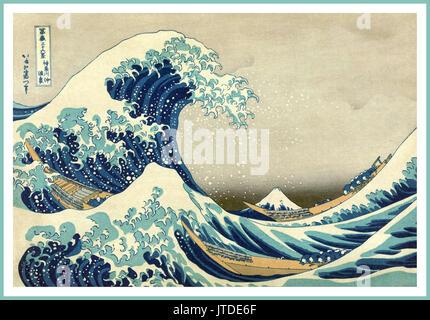 """La grande onda di Kanagawa off' Monte Fuji onda onde Katsushika Hokusai Giappone arte Vintage poster realizzato Foto Stock"