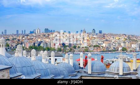 Vista di Istanbul dalla Moschea Suleymaniye, istanbul, Turchia Foto Stock