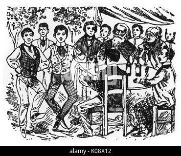 Canzone, la Jota Aragonesa -- una tradizionale canzone spagnola, con danze, dall'Aragona, risalente al XVIII secolo. Foto Stock
