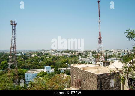 Vista di Hyderabad dal GP Birla Centre Foto Stock