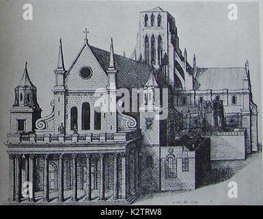 Disegno architettonico della vecchia cattedrale di St Paul prima fu distrutto dal Grande Incendio di Londra nel Foto Stock