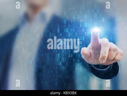 Grande statistiche dati e analisi di business concetto con flusso o stream di codice binario informazioni sulla Foto Stock