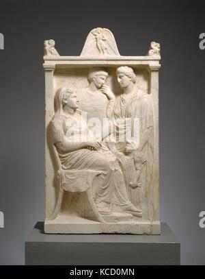 Stele di marmo (grave marker) di una donna, ca. 375-350 A.C. Foto Stock