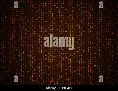 Il vettore di codice binario sfondo dorato. Grande dati e programmazione hacking, profondo la decifratura e la crittografia, Foto Stock