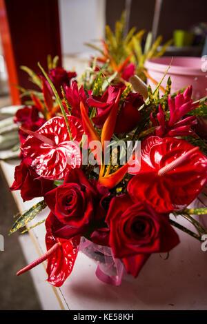 La Seychelles, Mahe, Victoria, Sir Selwyn Selwyn-Clarke Mercato, flower stall, display di Anthurium rosso fiori Foto Stock