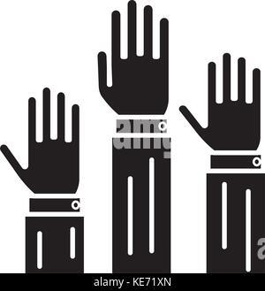 Diritti - 3 Hands Up Icona, illustrazione vettoriale, segno nero su sfondo isolato Foto Stock