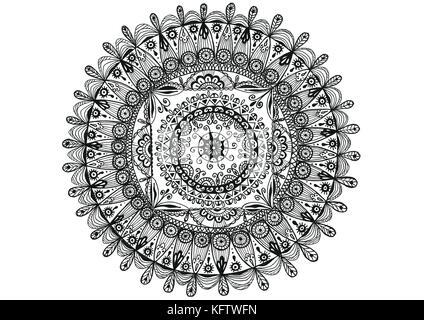 Doodle mandala isolati su sfondo bianco. Disegnata a mano illustrazione. Doodle style Foto Stock