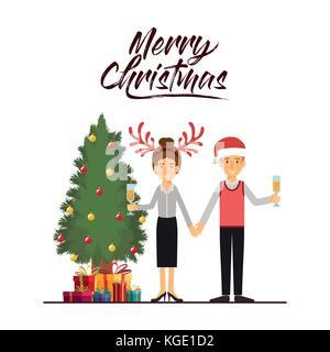 Buon Natale carta del giovane festeggiano il Natale con vetro di champagne accanto alla struttura con doni e lei Foto Stock
