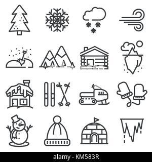 Inverno raccolta di icone - vettore silhouette. set linea illustrazioni Foto Stock