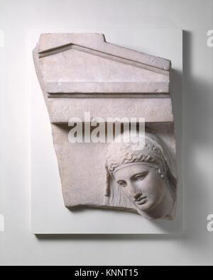 Frammento di una tomba in marmo stele di una donna ha incontrato DT 253047247660 Greca, attico, un frammento di Foto Stock