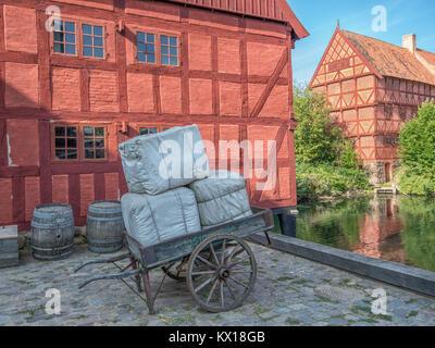 La Città Vecchia di Aarhus è popolare tra i turisti come si visualizza tradizionale architettura Danese dal XVI Foto Stock