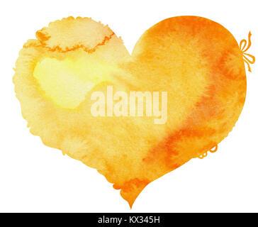 Acquerello cuore giallo con luce e ombra, dipinte a mano Foto Stock