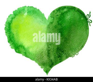 Acquerello cuore verde con luce e ombra, dipinte a mano Foto Stock