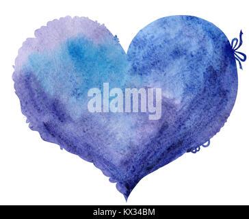 Acquerello cuore viola con luce e ombra, dipinte a mano Foto Stock