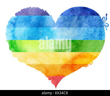 Acquerello arcobaleno nel cuore con luce e ombra, dipinte a mano Foto Stock