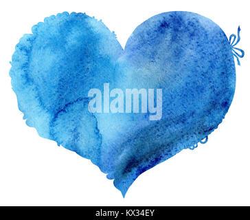 Acquerello cuore blu con luce e ombra, dipinte a mano Foto Stock