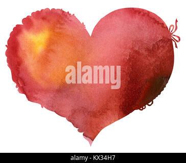 Acquerello cuore rosso con luce e ombra, dipinte a mano Foto Stock