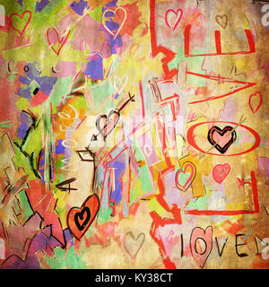 Colorate opere d'arte amore poster, molti graffi con texture di sfondo di arte Foto Stock