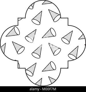 Modello di perfetta forma di etichetta con geometrica memphis style Foto Stock