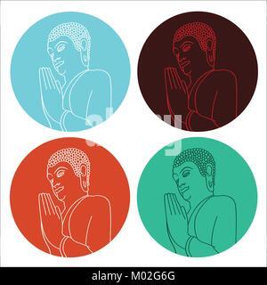 Silhouette di pregare il Buddha nel cerchio in diversi colori. Illustrazione Vettoriale Foto Stock
