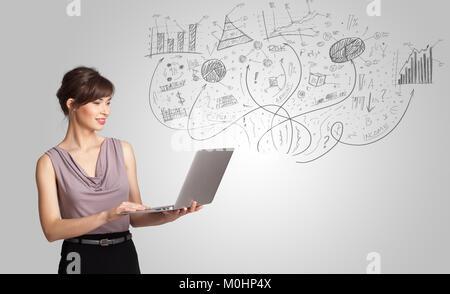 Ragazza di Business presentando disegnati a mano disegna grafici e diagrammi concept Foto Stock