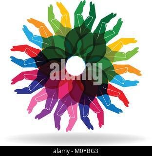 Mani diversità colorate le persone ad aiutare il concetto di vettore del logo Foto Stock