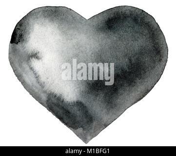 Acquerello cuore nero con luce e ombra, dipinte a mano Foto Stock