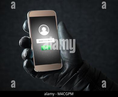 Il furto di identità e di cyber security concetto. Mobile di hacker e criminali di login persone online di social Foto Stock