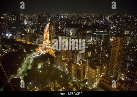 Vedute del paesaggio urbano di Tokyo e lo skyline di notte, dalla cima della Torre di Tokyo, a Tokyo. Foto Stock