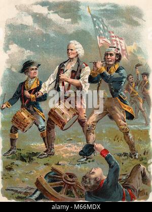 1770s 1776 IL VECCHIO CONTINENTALS VERSIONE DI SPIRITO DI 76 batterista PIPER bandiera colore mezzetinte da ARCHIBALD Foto Stock