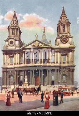 La Cattedrale di St Paul, Londra, Inghilterra, circa 1905 Foto Stock