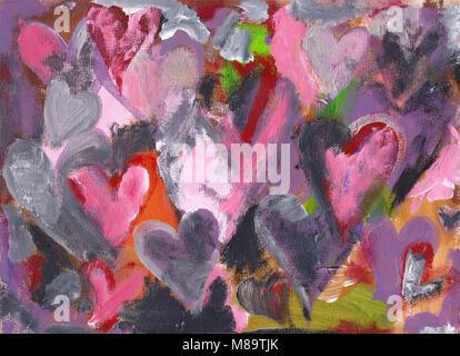 Molti cuori abstract pittura acrilica Foto Stock