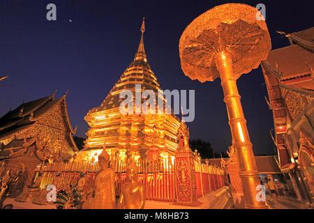Thailandia Chiang Mai, Wat Phra That Doi Suthep, tempio buddista, Foto Stock