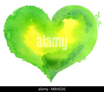 Acquerello luce cuore verde con luce e ombra, dipinte a mano Foto Stock