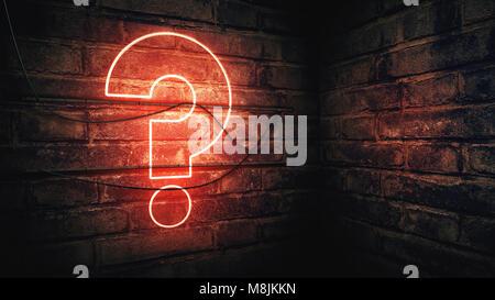 Punto interrogativo insegna al neon su un muro di mattoni, concettuale del rendering 3d'illustrazione per il test, Foto Stock