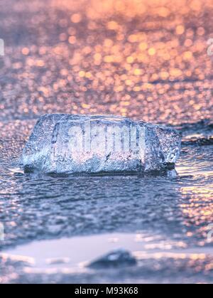 Shiny freddo pezzi di ghiaccio su chiari glaçon. Struttura del ghiaccio naturale nella messa a fuoco selettiva di una fotografia. I colori vivaci del tramonto polare. Foto Stock