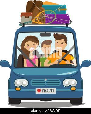 Viaggio, viaggio concetto. La famiglia felice giostre in minivan. Fumetto illustrazione vettoriale Foto Stock