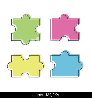 Quattro puzzle pezzi colorati illustrazione vettoriale, isolato su sfondo bianco Foto Stock