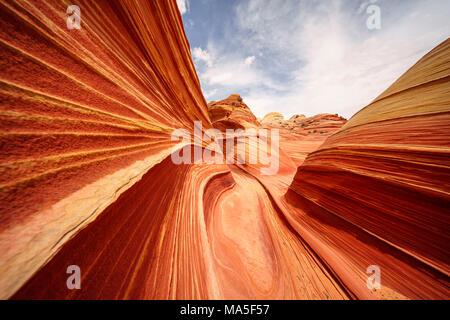 L'onda Coyote Buttes North, Paria Canyon-Vermillion scogliere deserto altopiano del Colorado, Arizona, Stati Uniti d'America Foto Stock