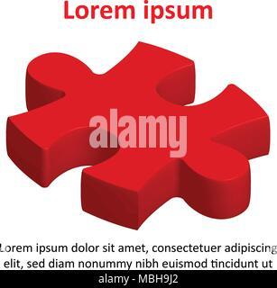Pezzo di Red Jigsaw Puzzle Icona per Business idea graphic design concept di sfondo Foto Stock