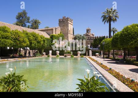 Giardini dell'Alcazar de los Reyes Cristianos, Cordoba, Andalusia, Spagna, Europa Foto Stock