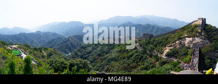 Vista panoramica della Grande Muraglia a Badaling, a nord-ovest di Beijing in Cina. Foto Stock