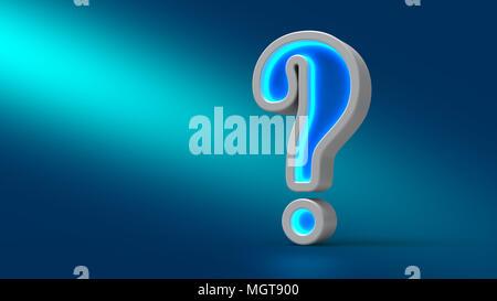 Neon incandescente grande punto interrogativo sul tavolo, su sfondo blu, 3d'illustrazione. Impostare per la progettazione di presentazioni. Foto Stock