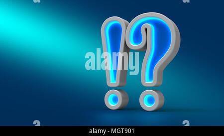 Neon incandescente esclamazione grande questione sul tavolo, su sfondo blu, 3d'illustrazione. Impostare per la progettazione di presentazioni. Foto Stock