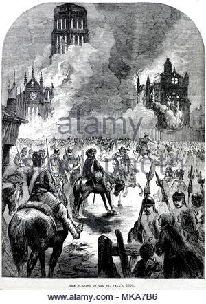 La bruciatura della vecchia cattedrale di San Paolo nel Grande Incendio di Londra del 1666, illustrazione di antiquariato dal 1880 Foto Stock
