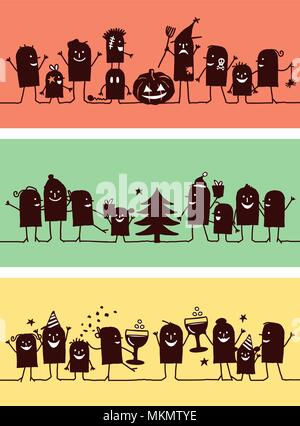 Silhouette di Cartoon caratteri - Celebrazioni Set 3 Foto Stock