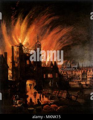 Grande Incendio di Londra, mostrando Ludgate & il vecchio San Paolo 1670 Foto Stock